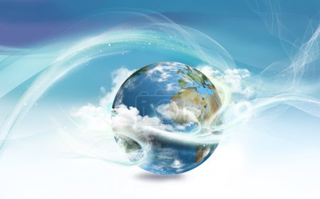 Foto de Energía alrededor de la tierra con la ley de la atracción - Imagen libre de derechos