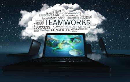 Foto de Nube de palabras con palabras positivas sobre colaboración y posibilidades - Imagen libre de derechos