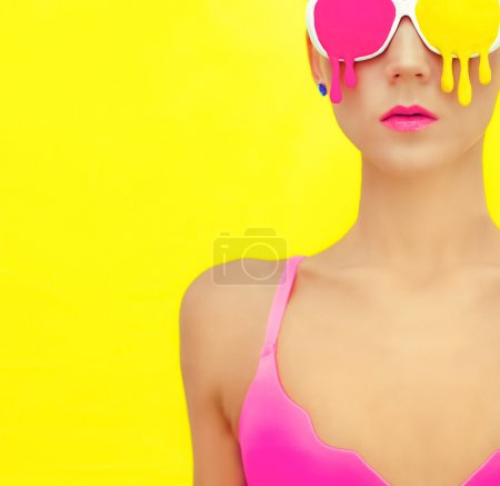 Photo for Bright girl in exclusive colorful glasses - Royalty Free Image