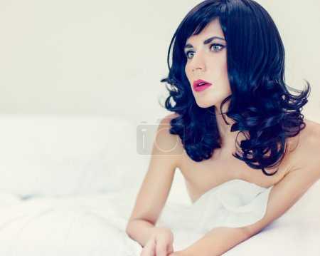 Photo for Portrait of a sensual lady in bed - Royalty Free Image
