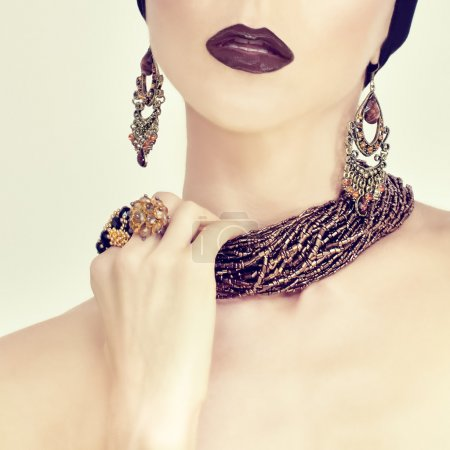 Photo for Beauty portrait of a sensual girl in jewelry - Royalty Free Image