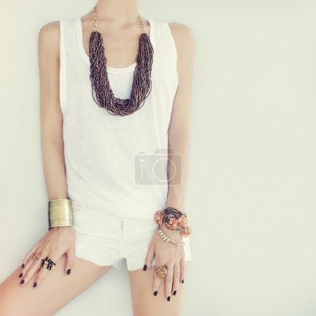 fashion girl in stylish jewelry