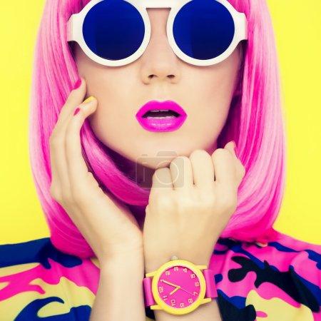 fashion portrait of stylish bright girl