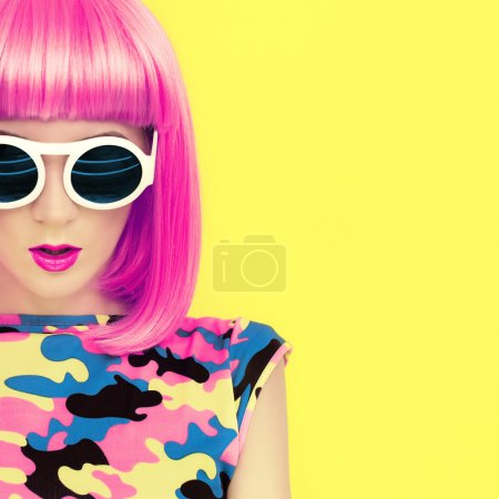 fashion portrait of stylish bright girl