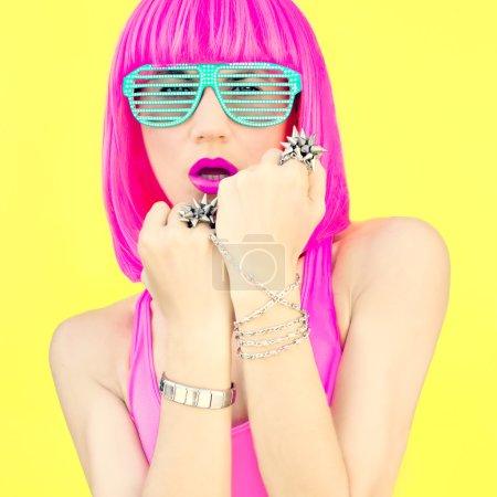 Fashion portrait of a bright girl.