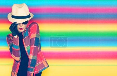 Glamorous girl hipster style...