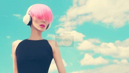 Fashion Girl. Sky. Music