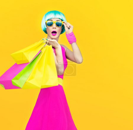 Photo for Shopping crazy girl - Royalty Free Image