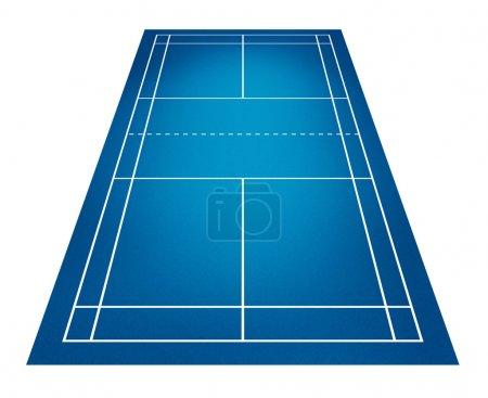 Photo pour Illustration du terrain de badminton - image libre de droit