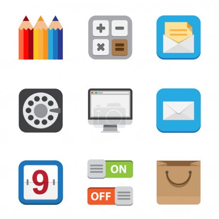Business and interface flat icons set