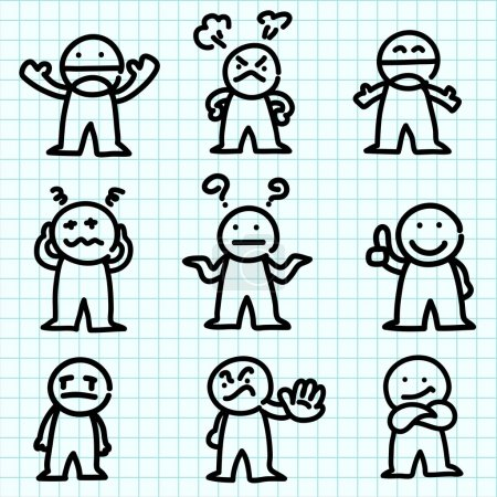 Emotion cartoon on graph paper.