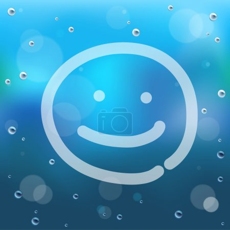 Illustration for Hand draw cartoon and water drop on glass.EPS10 - Royalty Free Image