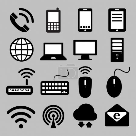 Illustration for Icon set of mobile devices, computer and network connections - Royalty Free Image