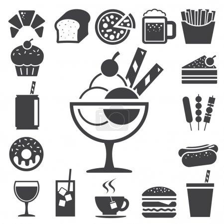 Illustration pour Ensemble d'icônes de restauration rapide et de dessert.Illustration eps10 - image libre de droit