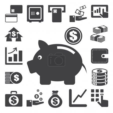 Illustration pour Ensemble d'icônes de la finance et de l'argent.Illustration eps10 - image libre de droit