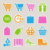 Shopping sticker icons set.