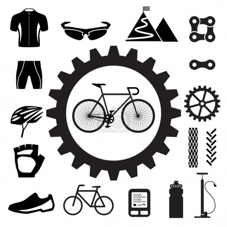 Illustration for Bicycle icons set,illustration eps 10 - Royalty Free Image
