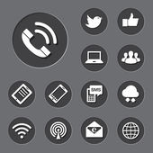 Mobile devices and network icons set.