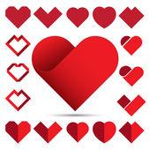 Red heart icon set  Illustration eps10