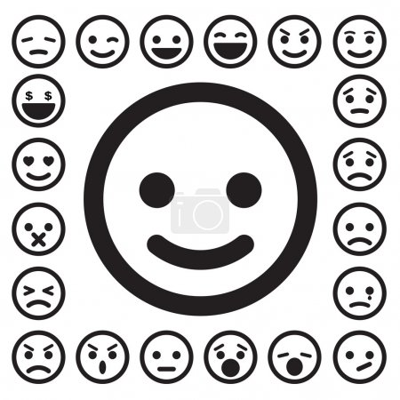 Illustration for Smiley faces icons set.Illustration. - Royalty Free Image
