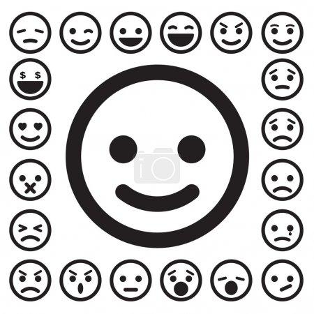 Illustration pour Smiley visages icônes set.Illustration . - image libre de droit