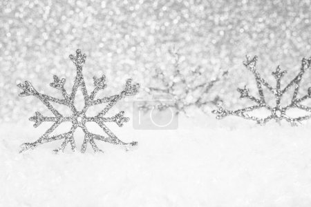 Photo for Abstract Christmas silver background with snowflakes - Royalty Free Image