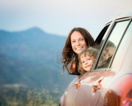 Photo for Happy family in car travel on summer vacation. Travel concept - Royalty Free Image