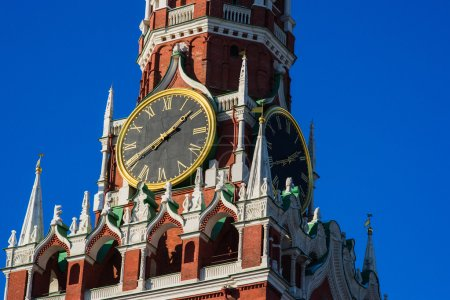 Close-up view of chimes of Spasskaya tower of Moscow Kremlin