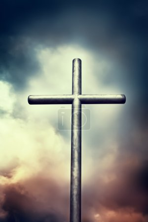 Photo for Iron cross on dark sky. Religion concepts - Royalty Free Image