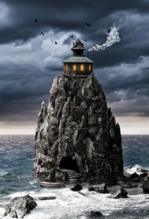 fantasy house on a rock island in sea