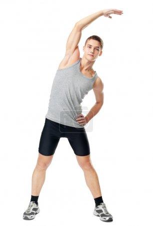 Athlete man doing exercises