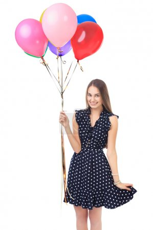 Photo for Portrait of beautiful young happy woman in polka dot dress with colorful balloons isolated on white background - Royalty Free Image