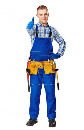 Happy young construction worker