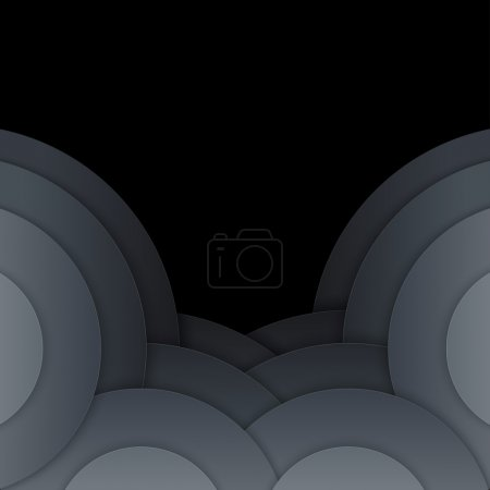 Abstract dark grey paper circles background