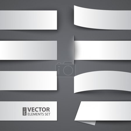 Set of blank paper banners with shadows on gray ba...
