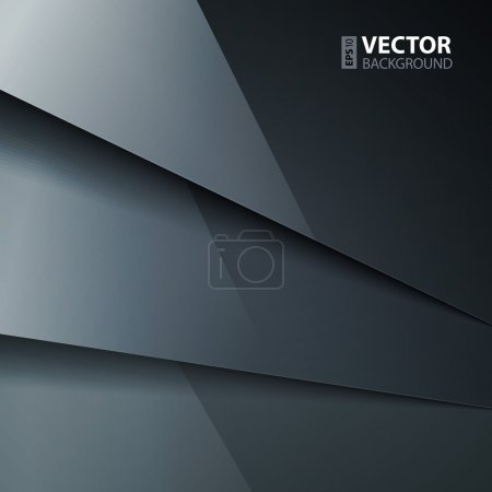 Illustration for Abstract vector background with dark gray metal layers. RGB EPS 10 vector illustration - Royalty Free Image