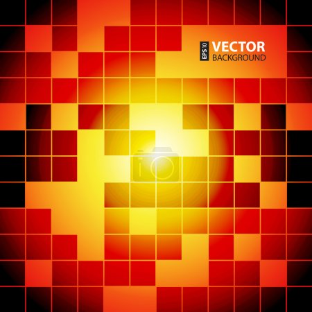 Red and orange squares abstract background.