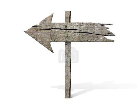 Photo pour Vieux panneau en bois isolé sur blanc - image libre de droit