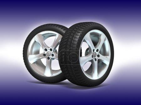 Wheels 3d illustration.