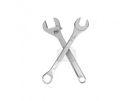 Two crossed spanners isolated on a white background