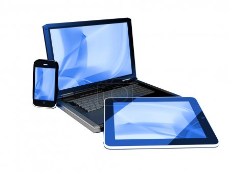 Photo pour Appareils de mobilité - fond bleu vague - image libre de droit