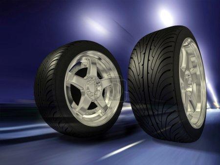 Two sports wheels slide on road