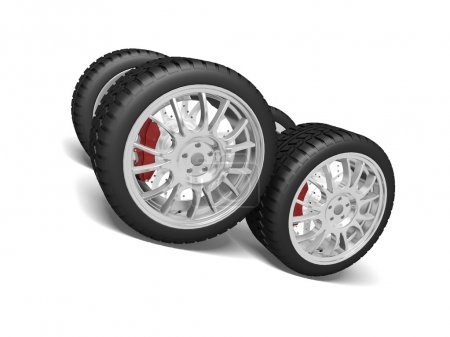 Four sports wheels isolated on the white