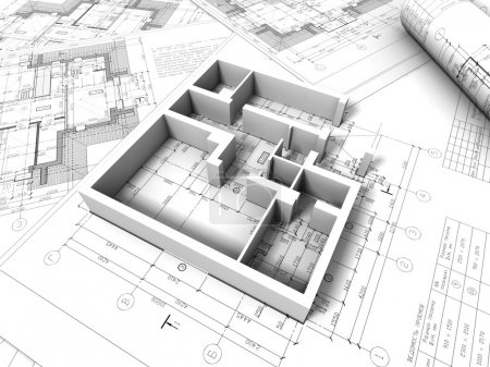 Photo for 3D plan drawing - Royalty Free Image