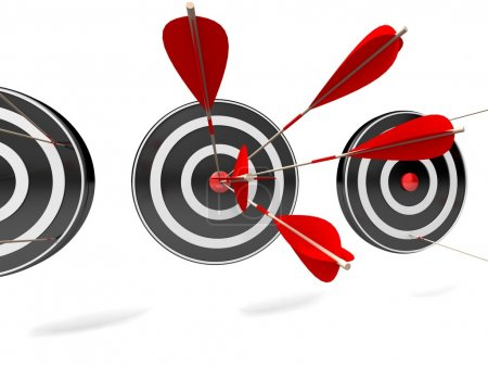 Photo for 3d target and arrows, isolated on white - Royalty Free Image