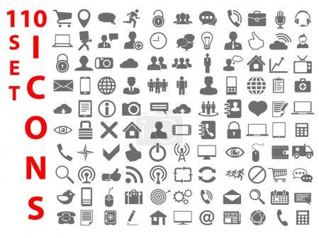 Photo pour 110 Universal flat Icônes pour le Web, Mobile, entreprise, finance et communication - image libre de droit