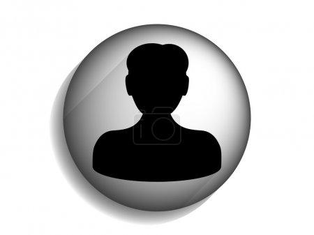 Flat long shadow icon of businessman