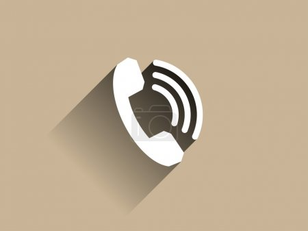 Photo pour Icône longue ombre plate d'un téléphone - image libre de droit