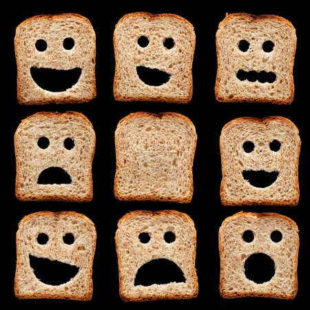 Photo for Bread slices with happy sad and other facial expressions - isolated on black - Royalty Free Image