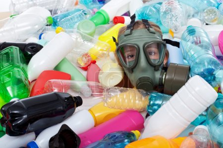 Child with gas mask covered with plastic bottles